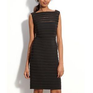 Adrianna Papell Black Jersey Shutter Pleat Dress